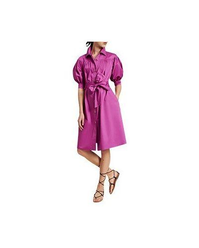 Хлопковое фиолетовое повседневное платье Luisa Spagnoli