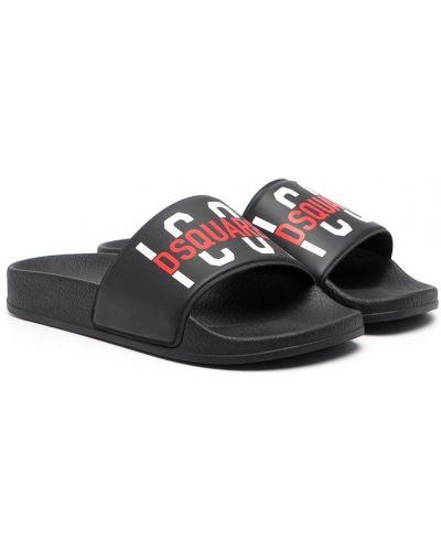 Открытые черные шлепанцы с открытым носком Dsquared2 Kids