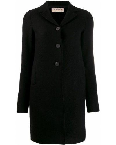 Приталенное шерстяное черное пальто классическое Blanca