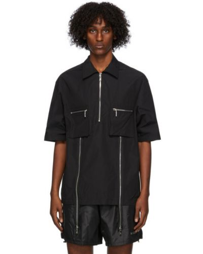 Черная рубашка с коротким рукавом с воротником с заплатками с карманами We11done