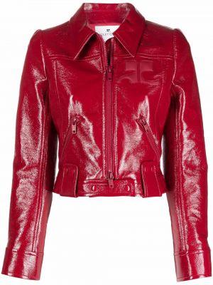 Кожаная куртка длинная - красная Courrèges