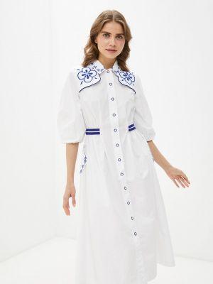 Белое платье-рубашка United Colors Of Benetton