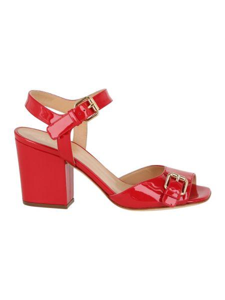 Czerwone sandały z klamrą Sergio Rossi
