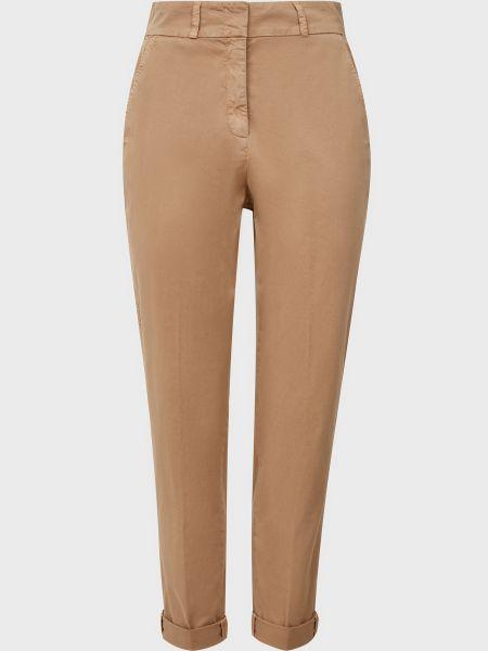 Хлопковые бежевые брюки на молнии Cappellini