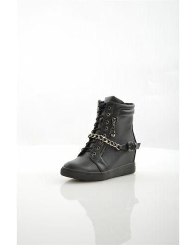 Кожаные черные кроссовки на платформе Francesco Donni