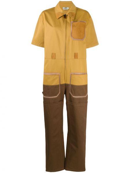 С рукавами желтый комбинезон с карманами Fendi