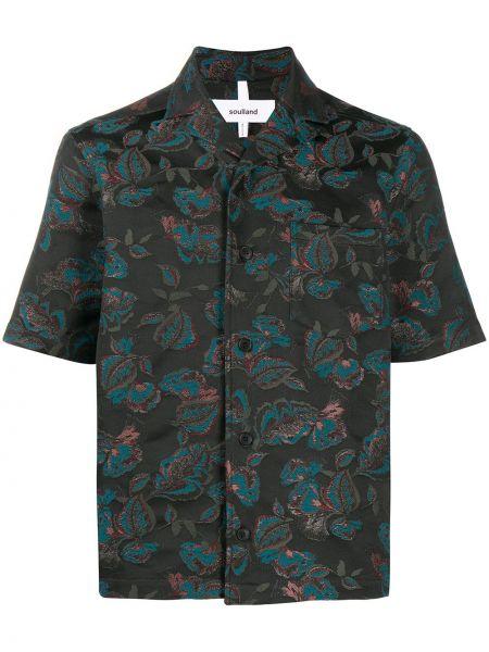 Черная прямая рубашка с короткими рукавами с воротником на пуговицах Soulland