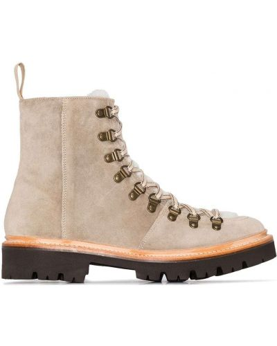 Ажурные сапоги без каблука на каблуке на шнуровке круглые Grenson