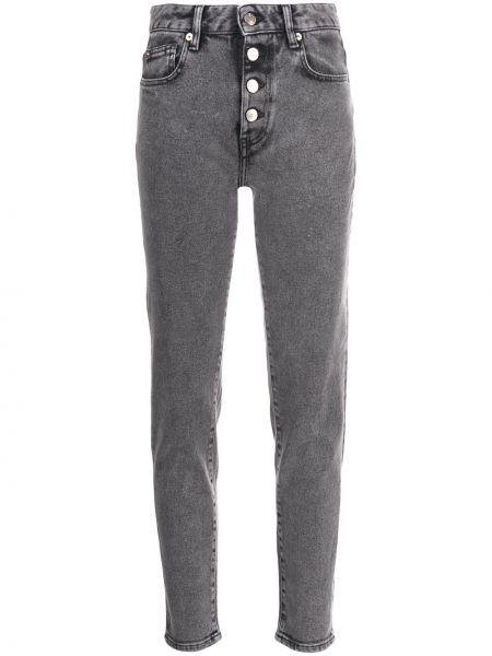 Хлопковые серые с завышенной талией джинсы-скинни на молнии Iro