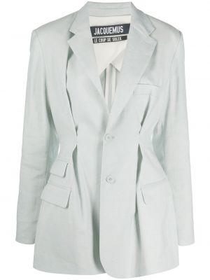 Шерстяной синий пиджак с карманами Jacquemus