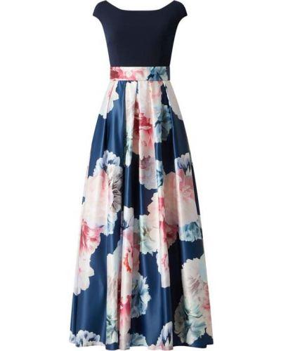 Satynowa sukienka wieczorowa - niebieska Swing
