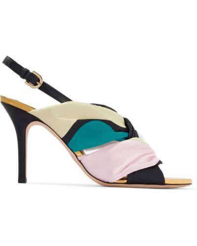 Sandały skorzane peep toe z klamrą Emilio Pucci