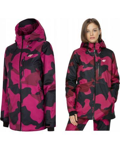 Różowa kurtka snowboardowa z kapturem z długimi rękawami 4f