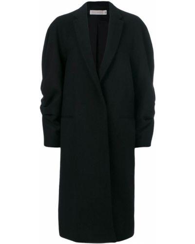 Шерстяное черное пальто с капюшоном Victoria Beckham