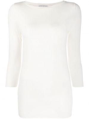С рукавами белая футболка с вырезом Stefano Mortari