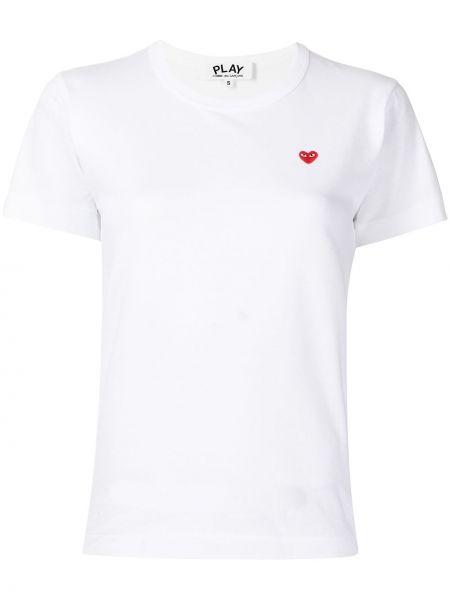 T-shirt z printem - biała Comme Des Garcons Play