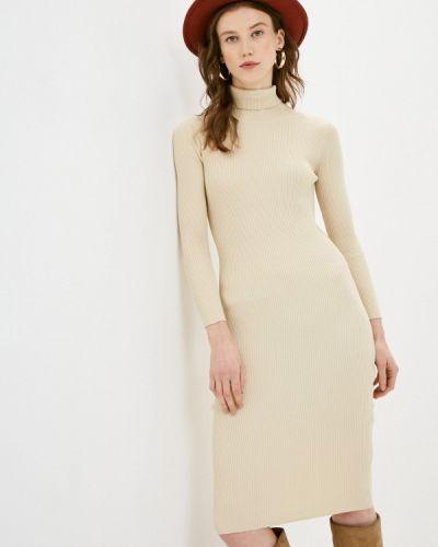 Бежевое вязаное трикотажное платье Katya Erokhina