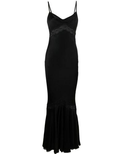 Czarna sukienka koronkowa z wiskozy Christian Dior