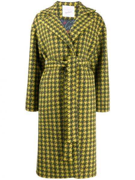 Желтое шерстяное длинное пальто с поясом Giada Benincasa