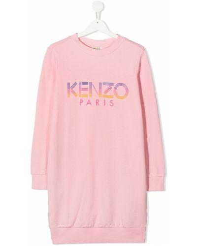 Prążkowana różowa sukienka mini z długimi rękawami Kenzo Kids