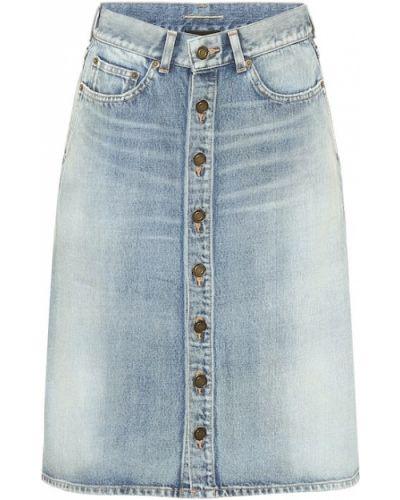 Ватная хлопковая синяя юбка миди Saint Laurent