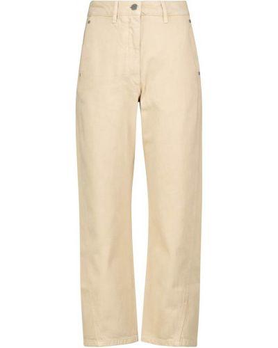 Mom jeans bawełniane - beżowe Lemaire