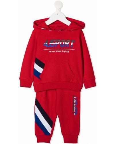 Хлопковый с рукавами костюмный спортивный костюм с капюшоном Cesare Paciotti 4us Kids