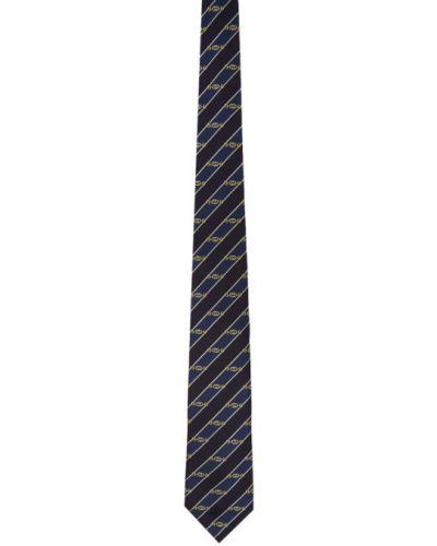 Żółty krawat w paski z jedwabiu Gucci