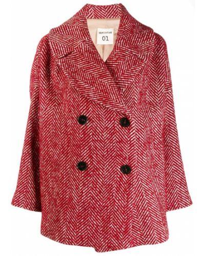 Коралловое шерстяное длинное пальто Semicouture
