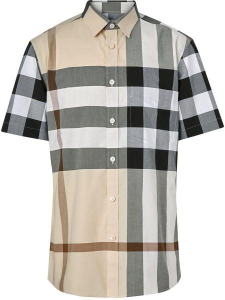 Koszula krótkie z krótkim rękawem z kołnierzem beżowy Burberry