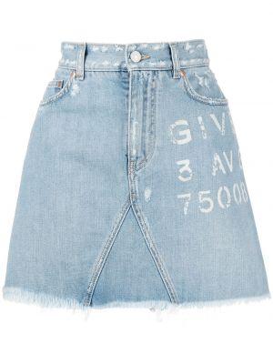 Хлопковая с завышенной талией синяя джинсовая юбка Givenchy