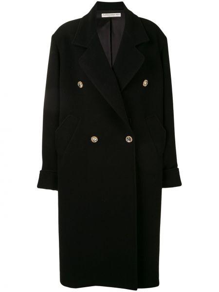 Czarny długi płaszcz wełniany z długimi rękawami Alessandra Rich