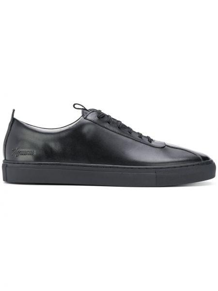 Черные кожаные кроссовки Grenson
