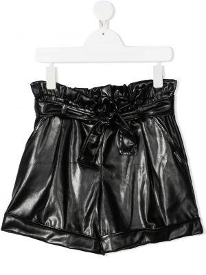 Кожаные черные шорты с карманами Msgm Kids