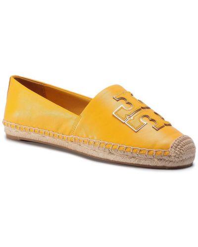 Żółte espadryle Tory Burch