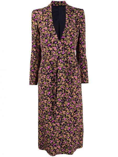 Черное длинное пальто на пуговицах с подкладкой Blazé Milano