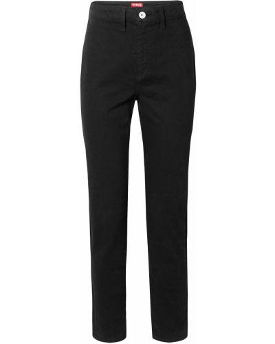 Czarne jeansy bawełniane z paskiem Staud