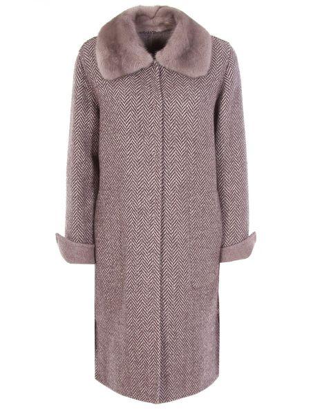 Коричневое шерстяное пальто с воротником на пуговицах Manzoni 24