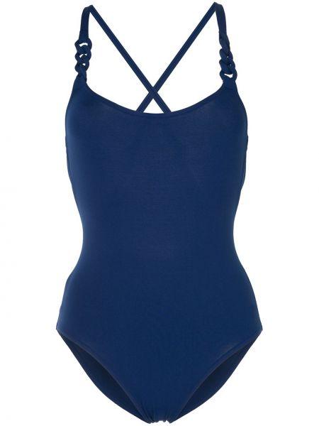 Синий слитный купальник с вырезом эластичный Eres