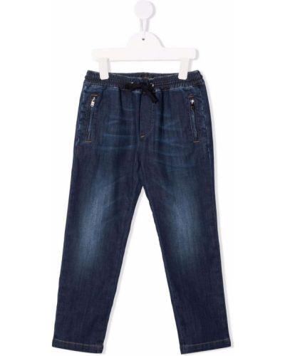 Niebieskie mom jeans bawełniane Dolce & Gabbana Kids