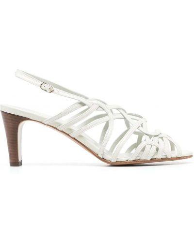 Серые кожаные туфли-лодочки на каблуке Michel Vivien