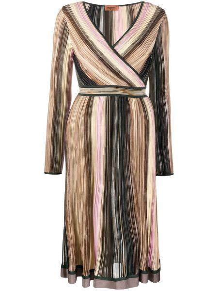 Шелковое платье миди с запахом в полоску Missoni