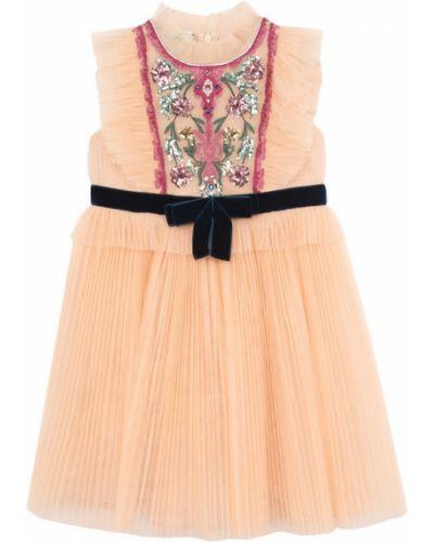 Платье с поясом розовое персиковое Gucci