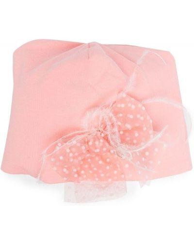 Różowy kapelusz bawełniany z printem Miss Blumarine