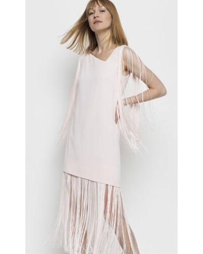 Różowa sukienka z frędzlami materiałowa Deni Cler Milano