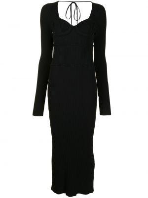 Трикотажное черное платье макси с вырезом Altuzarra