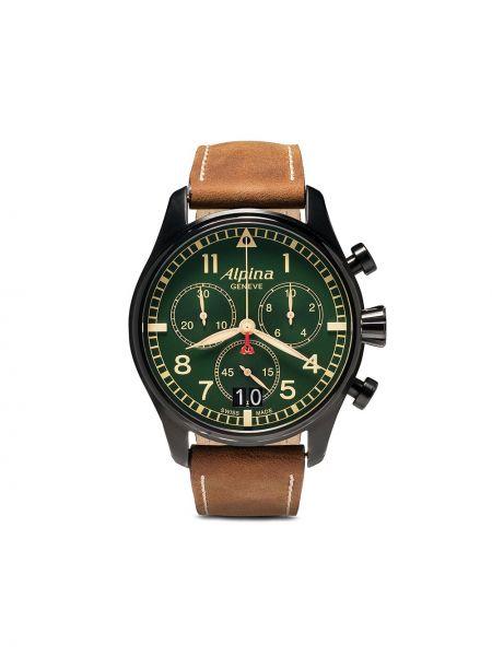 Зеленые кожаные часы Alpina