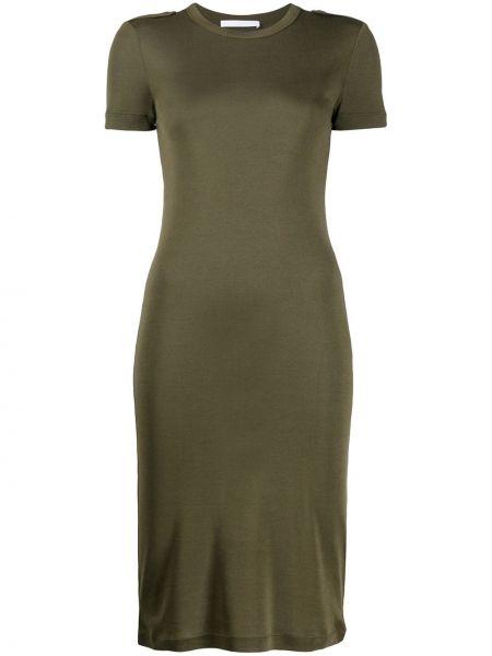 Облегающее платье в рубчик с вырезом Helmut Lang