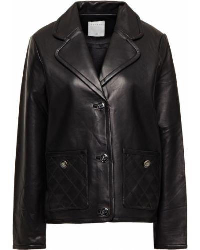 Черная стеганая кожаная куртка Sandro