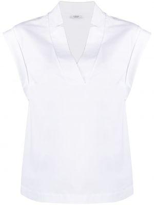 Белая блузка без рукавов с вырезом Peserico